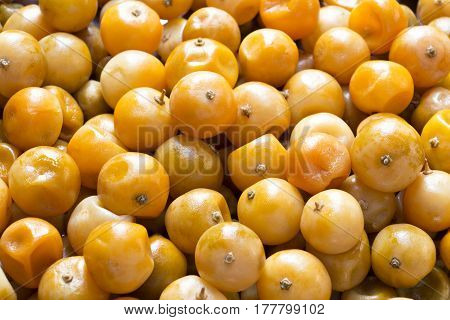 Fruit preserved orange (Citrus Japonica Thunb) background.