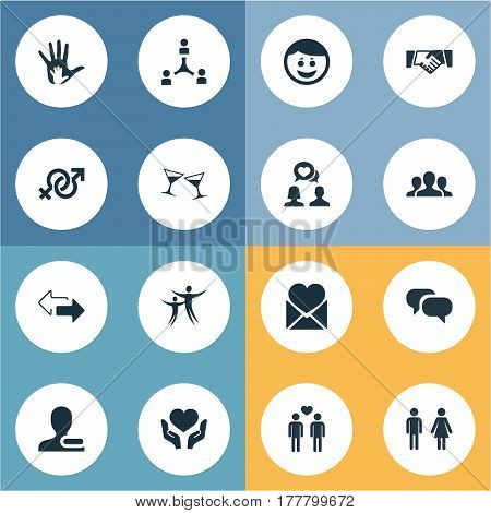Vector Illustration Set Of Simple Mates Icons. Elements Homosexual, Arrows, Dance And Other Synonyms Chat, Beverage And Symbol.