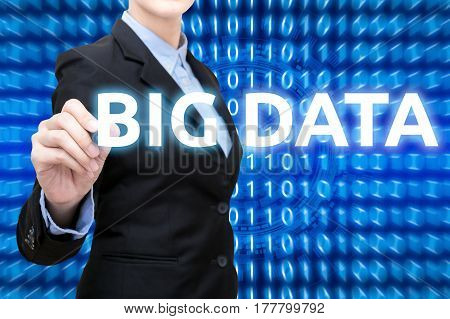 Smart Business Woman Is Writing Big Data With Smart Technology Background.technology Concept In The
