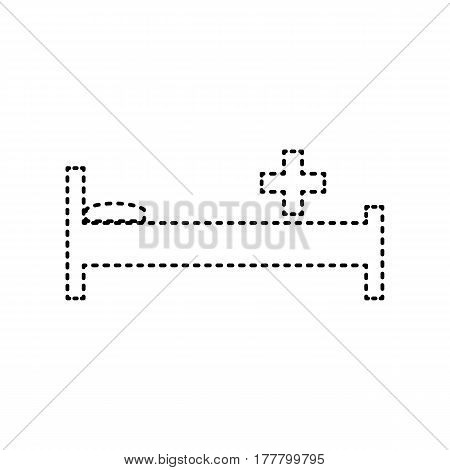 Hospital sign illustration. Vector. Black dashed icon on white background. Isolated.