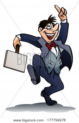 illustration of a drunken businessman holding blank sign board on isolated white background