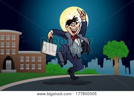 illustration of a drunken businessman holding blank sign board on nature background