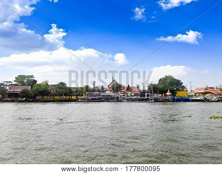 Scenic view of the Chao Praya River in Bangkok Thailand.