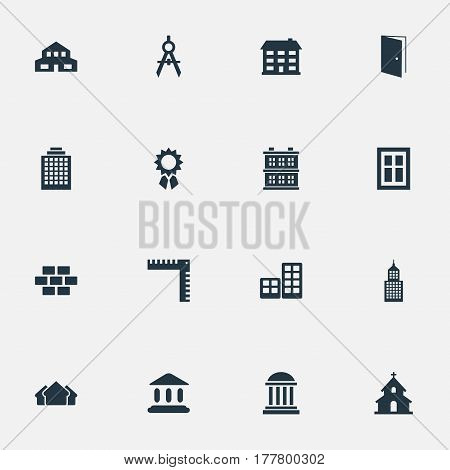 Vector Illustration Set Of Simple Architecture Icons. Elements Booth, Flat, Offices And Other Synonyms Academy, Shack And Construction.