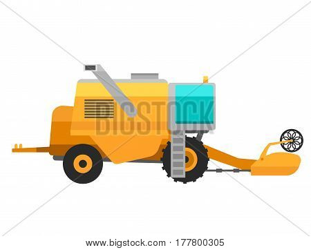 Type of agricultural yellow vehicle or harvester machine combine and icon with accessories for plowing mowing, planting and harvesting vector illustration. Transportation land industry.