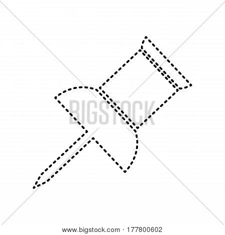 Pin push sign. Vector. Black dashed icon on white background. Isolated.