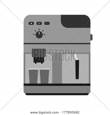 Coffee maker machine caffeine modern drink kitchen appliance breakfast and food stainless equipment scales kitchenware vector illustration. Coffeemaker home lifestyle technology.