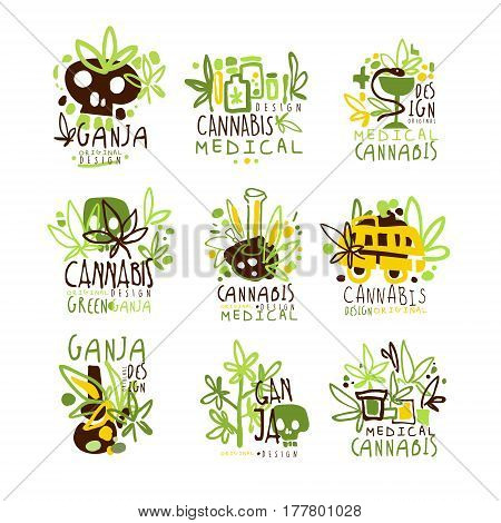 Medical Cannabis Colorful Graphic Design Template Logo Series, Hand Drawn Vector Stencils. Artistic Promo Posters With Funky Font And Fun Design Elements.