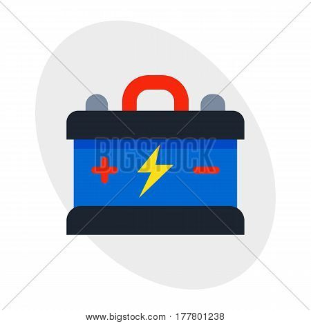 Accumulator battery energy power and electricity alkaline generation energy car auto parts electrical supply power high detailed vector illustration. Transport motorist change automobile mechanic.