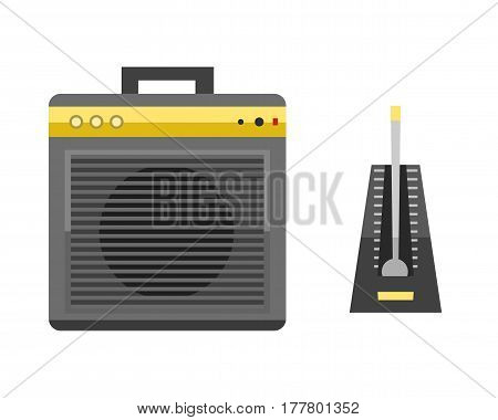 Acoustic musical speaker audio equipment musical technology and loudspeaker volume studio tool stereo entertainment vector illustration. Electronic woofer modern power listen noise voice instrument.