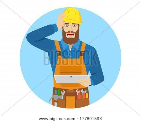 Worker holding digital tablet PC and grabbed his head. Portrait of worker in a flat style. Vector illustration.