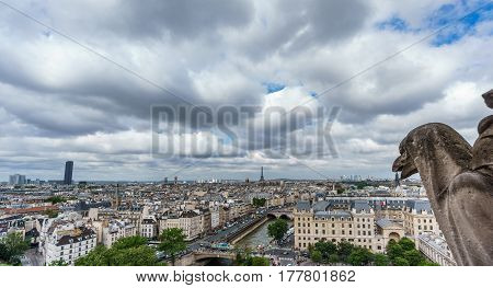 Wide angle view of gargoyle and Paris cityscape with montparnasse tower from Notre Dame Cathedral church, France