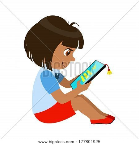 Girl Sitting Reading And Electronic Book, Part Of Kids And Modern Gadgets Series Of Vector Illustrations. Smiling Kid Addicted To Electronic Devices, Active Internet Technologies User.