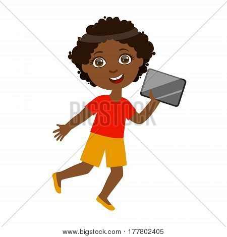 Boy Running With Tablet, Part Of Kids And Modern Gadgets Series Of Vector Illustrations. Smiling Kid Addicted To Electronic Devices, Active Internet Technologies User.