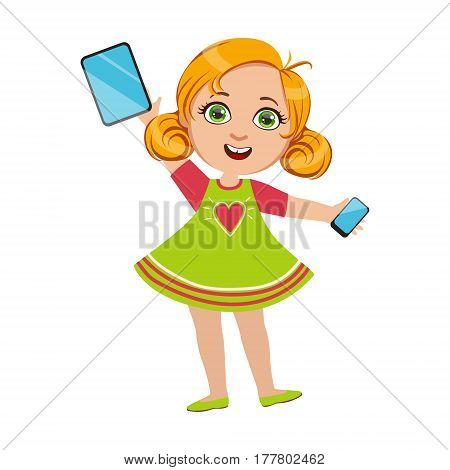 Girl Holding Tablet And Smartphone, Part Of Kids And Modern Gadgets Series Of Vector Illustrations. Smiling Kid Addicted To Electronic Devices, Active Internet Technologies User.