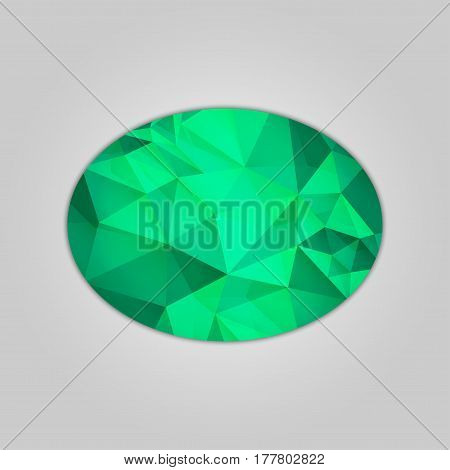 Abstract emerald ellipse shape filled shades of green color and isolated on gray background.