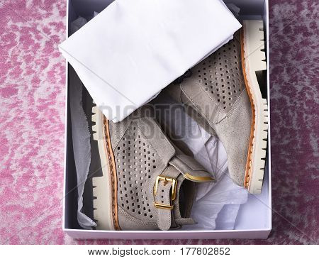 Womans Grey Suede Boots With White Sole In Shopping Box