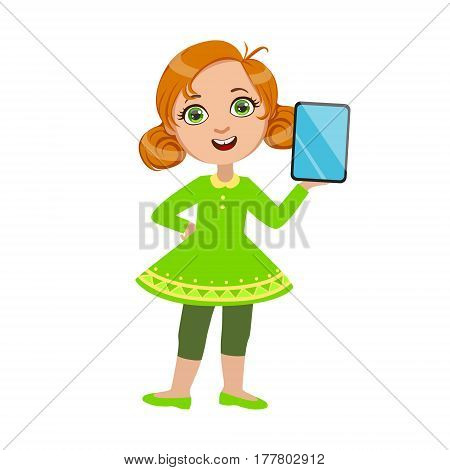 Girl Standing Showing Her Tablet, Part Of Kids And Modern Gadgets Series Of Vector Illustrations. Smiling Kid Addicted To Electronic Devices, Active Internet Technologies User.