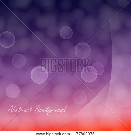 Background of light bokeh effect on purple and red gradient with light smooth layers on a side