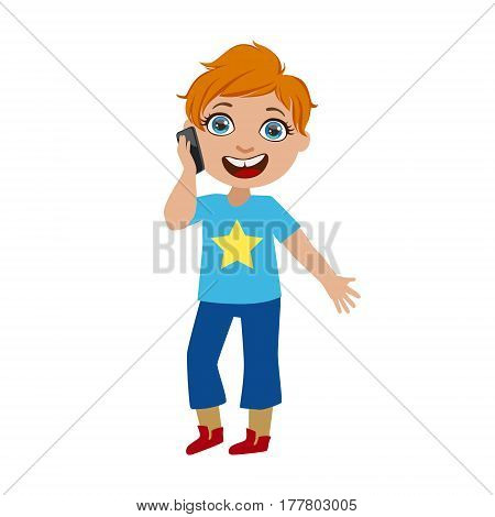 Boy Chatting On His Smartphone, Part Of Kids And Modern Gadgets Series Of Vector Illustrations. Smiling Kid Addicted To Electronic Devices, Active Internet Technologies User.