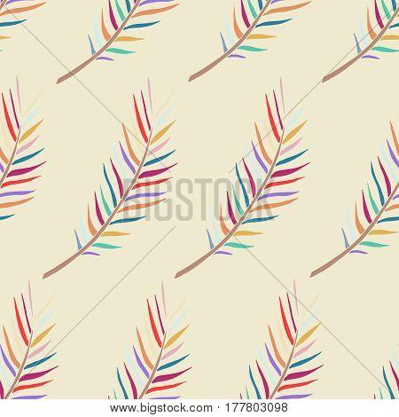 Hand drawn fern seamless pattern. Tropical vector print.