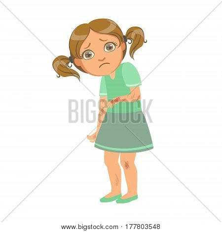 Girl With Many Scratches, Sick Kid Feeling Unwell Because Of The Sickness, Part Of Children And Health Problems Series Of Illustrations. Young Teenager Ill Cute Cartoon Character With Illness Symptoms.