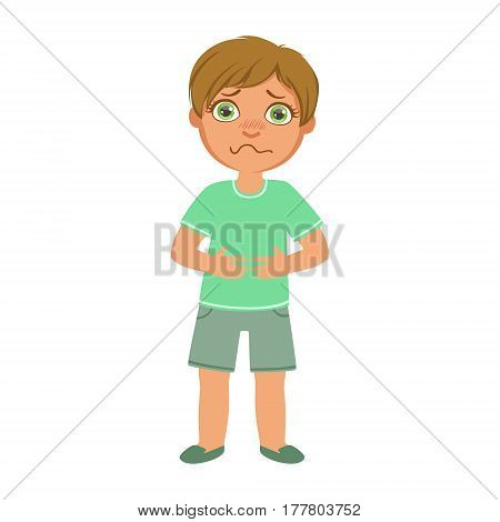 Boy With Stomach Cramps, Sick Kid Feeling Unwell Because Of The Sickness, Part Of Children And Health Problems Series Of Illustrations. Young Teenager Ill Cute Cartoon Character With Illness Symptoms.