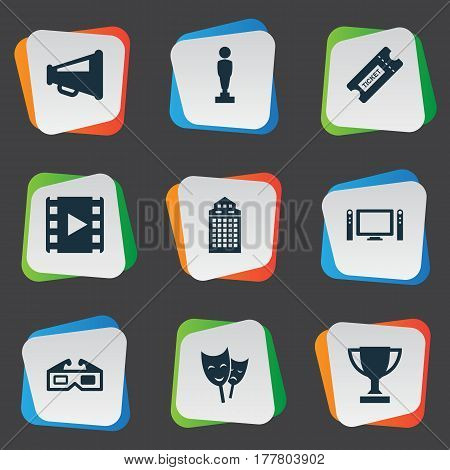 Vector Illustration Set Of Simple Cinema Icons. Elements Structure, Theatre, Home Cinema And Other Synonyms Award, Reward And Reel.