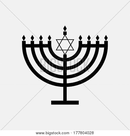Hanukkah menorah candles icon with star of David black vector isolated