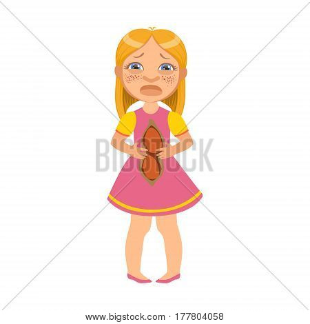 Girl With Hurting Belly, Sick Kid Feeling Unwell Because Of The Sickness, Part Of Children And Health Problems Series Of Illustrations. Young Teenager Ill Cute Cartoon Character With Illness Symptoms.