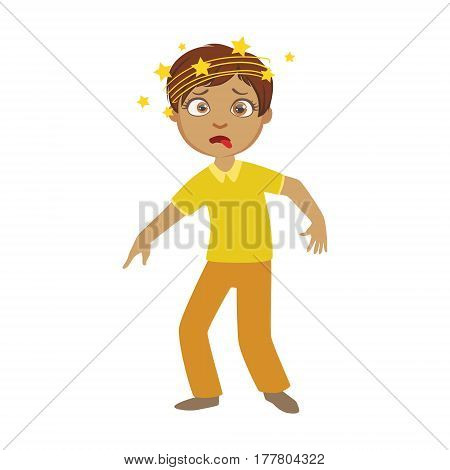 Boy And Dizziness, Sick Kid Feeling Unwell Because Of The Sickness, Part Of Children And Health Problems Series Of Illustrations. Young Teenager Ill Cute Cartoon Character With Illness Symptoms.