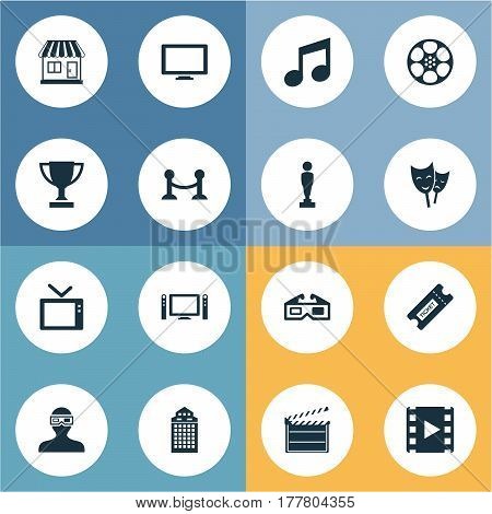 Vector Illustration Set Of Simple Film Icons. Elements Home Cinema, Filmstrip, Structure And Other Synonyms Display, Reward And Pass.