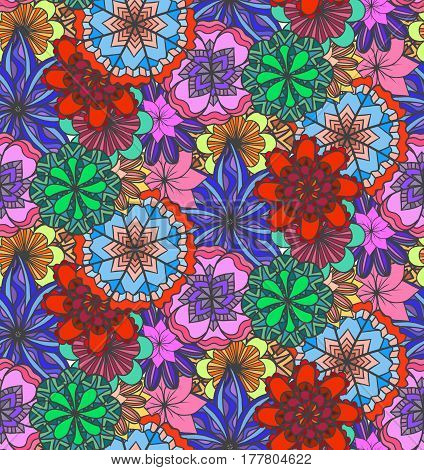 Seamless multicolored texture with doodle flowers. Vector pattern for wrapping paper wallpaper fabrics and your design