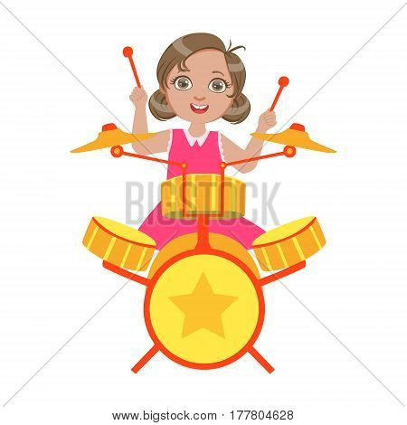 Girl Playing Drums, Kid Performing On Stage, School Showcase Participant With Musical Artistic Talent . Part Of Talented Children And Music Series Of Vector Cartoon Illustrations.