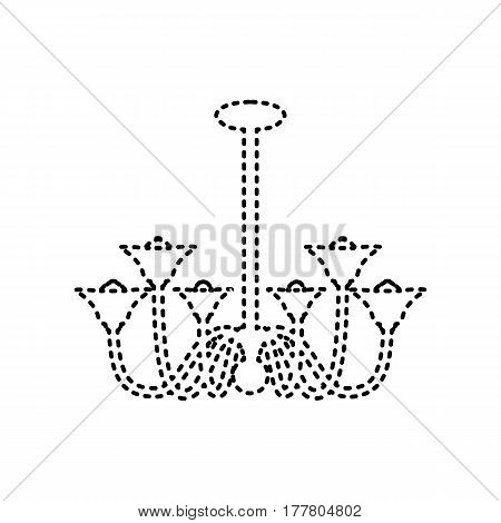 Chandelier simple sign. Vector. Black dashed icon on white background. Isolated.