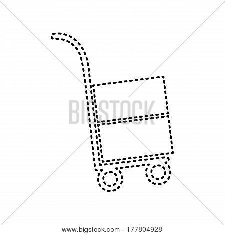 Hand truck sign. Vector. Black dashed icon on white background. Isolated.