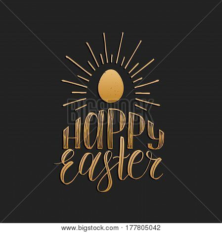 Happy Easter hand lettering greeting card with egg. Religious holiday vector illustration on black background for poster, flyer etc.