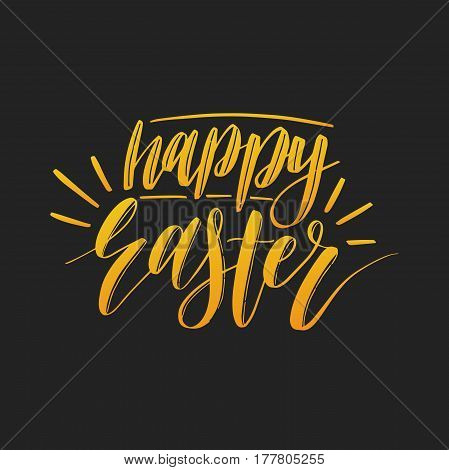 Vector Happy Easter calligraphy on black background. Religious holiday hand lettering for greeting card, poster, flyer etc.