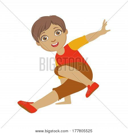 Boy Dancing Breakdance Performing On Stage, School Showcase Participant With Musical Artistic Talent. Part Of Talented Children Dancers And Music Series Of Vector Cartoon Illustrations.