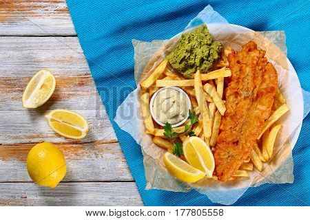 Fish And Chips On Plate, Top View
