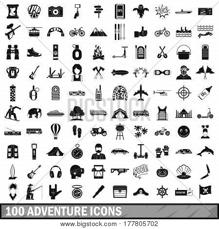 100 adventure icons set in simple style for any design vector illustration