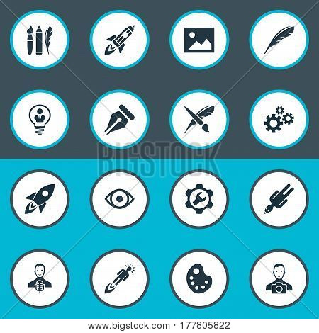 Vector Illustration Set Of Simple Creative Thinking Icons. Elements Entrepreneur, Drawing Tool, Brush And Other Synonyms Depression, Galaxy And Future.