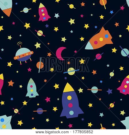 Seamless pattern rocket flying saucer vector illustration