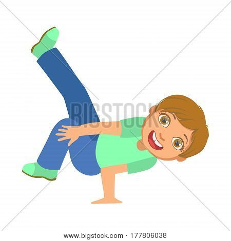Boy Doing Stand On One Hand Dancing Breakdance Performing On Stage, School Showcase Participant With Musical Artistic Talent. Part Of Talented Children Dancers And Music Series Of Vector Cartoon Illustrations.