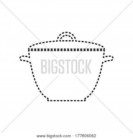 Saucepan simple sign. Vector. Black dashed icon on white background. Isolated.