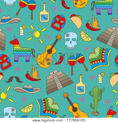 Seamless pattern on the theme of recreation in the country of Mexico colorful icons on green background