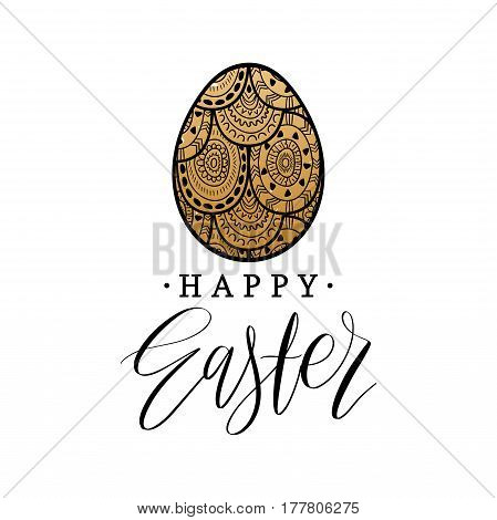 Happy Easter hand lettering greeting card with egg. Religious holiday vector illustration on white background for poster, flyer etc.