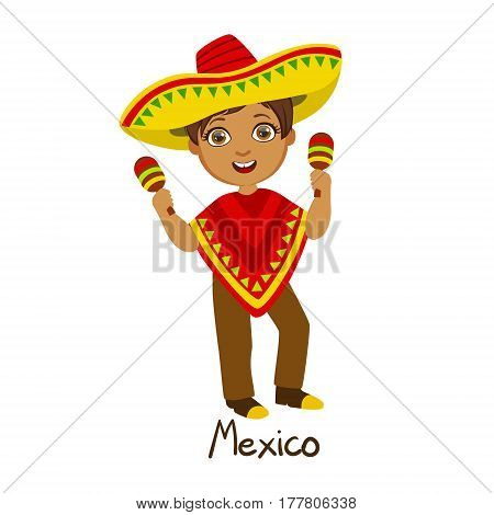 Boy In Mexico Country National Clothes, Wearing Poncho And Sombrero Traditional For The Nation. Kid In Mexican Costume Representing Nationality Cute Vector Illustration.