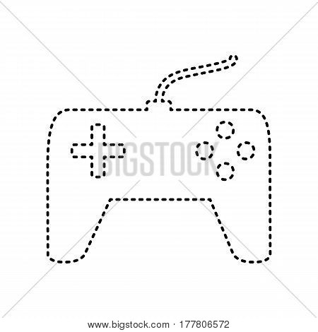 Joystick simple sign. Vector. Black dashed icon on white background. Isolated.