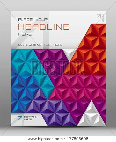 Design for brochure or catalogue cover with abstract triangle geometric background